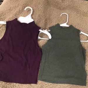 Two high neck crop tops